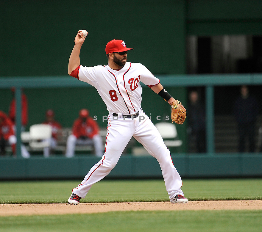 DANNY ESPINOSA, of the Washington Nationals, in action during the Nationals game against the Cincinnati Reds on April 12, 2012 at Nationals Park in Washington, DC. The Nationals beat the Reds 3-2.
