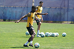 Getafe's Florent Poulolo (l) and Chema Rodriguez during training session. May 25,2020.(ALTERPHOTOS/Acero)
