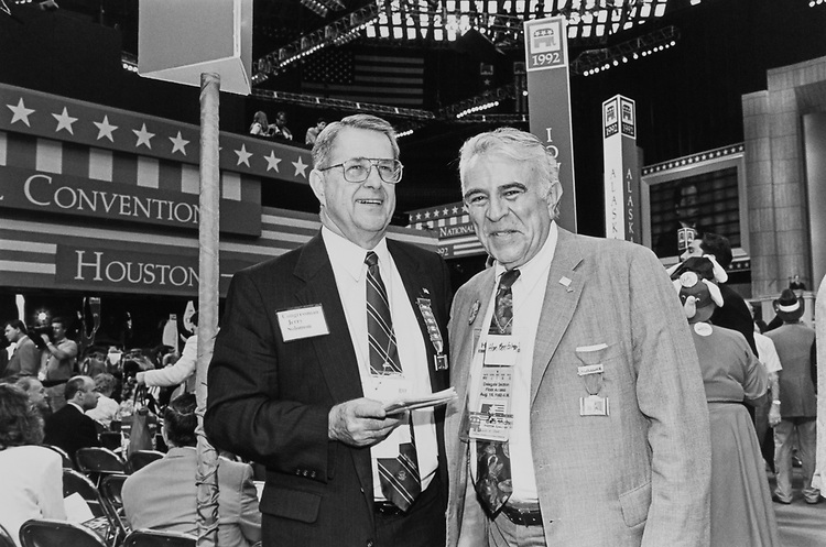 Rep. Gerald B. H. Solomon, R-N.Y., and Rep. Benjamin A. Gilman, R-N.Y., at the GOP Convention in August 1992. (Photo by Laura Patterson/CQ Roll Call)