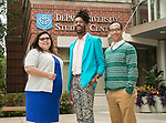 Office of Multicultural Student Success: Patricia Santoyo-Marín, associate director and liaison to undocumented students, Michael Riley, LGBTQA resource center coordinator and Johnny Lasalle, intersectional programs coordinator. (DePaul University/Jamie Moncrief)