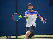 June 11th 2017, Nottingham, England; ATP Aegon Nottingham Open Tennis Tournament day 2;  Forehand from Joshua Paris of Great Britain who lost to Roberto Quiroz of Ecuador in two sets