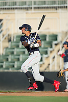 Jose Pujols (23) of the Lakewood BlueClaws follows through on his swing against the Kannapolis Intimidators at Kannapolis Intimidators Stadium on August 11, 2016 in Kannapolis, North Carolina.  The Intimidators defeated the BlueClaws 3-1.  (Brian Westerholt/Four Seam Images)