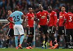 Fernandinho of Manchester City and Paul Pogba of Manchester United exchange words during the premier league match at the Etihad Stadium, Manchester. Picture date 7th April 2018. Picture credit should read: Simon Bellis/Sportimage