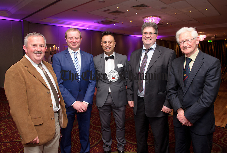 Ray Ward, John Tierney, Nathan Mahar and John and Cyril Jones of Jones SuperValu, Miltown Malbay  at the FBD Clare Business Excellence Awards ceremony in Treacy's West County hotel. Photograph by John Kelly.