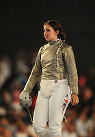 Aug. 9, 2008; Beijing, CHINA; Becca Ward (USA) during the womens fencing individual sabre semi final at the Fencing Hall in the 2008 Beijing Olympic Games. Mandatory Credit: Mark J. Rebilas-