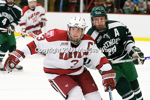Alex Biega (Harvard - 3), Scott Fleming (Dartmouth - 17) - The Harvard University Crimson defeated the Dartmouth College Big Green 4-1 (EN) on Monday, January 18, 2010, at Bright Hockey Center in Cambridge, Massachusetts.