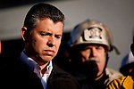 SAN BRUNO, CA - SEPTEMBER 10: Lt. Governor Abel Maldonado listens at a press conference September 10, 2010 in San Bruno, California. A massive explosion rocked a neighborhood near San Francisco International Airport, destroying 37 homes, killing at least 4 people, and injuring at least 50.