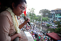 Phyu Phyu Thin, an opposition candidate of National League for Democracy (NLD), the opposition party in Myanmar, protest during the last day of politic campaign in Yangon, Myanmar, 27 March 2012. Photo Insidefoto / Yedra Vargas / Anatomica Press