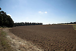 Field of brown soil ready for planting, Sutton, Suffolk farming landscape scenery, East Anglia, England
