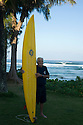 Shaper Dick Brewer (HAW) at Backyards on the Northshore of Oahu in Hawaii.