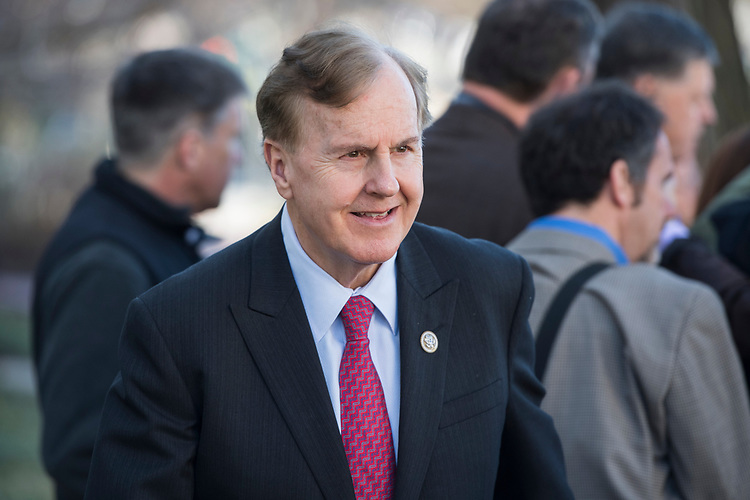UNITED STATES - MARCH 8: Rep. Robert Pittenger, R-N.C., leaves a meeting of the House Republican Conference at the Capitol Hill Club, March 8, 2017. (Photo By Tom Williams/CQ Roll Call)