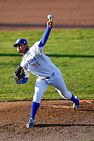 Ogden Raptors starting pitcher Roberth Fernandez (34) delivers a pitch to the plate against the Orem Owlz in Pioneer League action at Lindquist Field on June 27, 2016 in Ogden, Utah. Orem defeated Ogden 4-3. (Stephen Smith/Four Seam Images)
