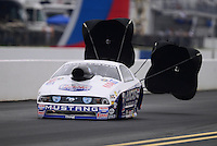 Sept. 16, 2012; Concord, NC, USA: NHRA pro stock driver Larry Morgan during the O'Reilly Auto Parts Nationals at zMax Dragway. Mandatory Credit: Mark J. Rebilas-
