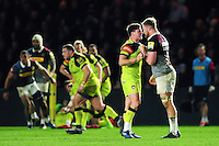 Freddie Burns of Leicester Tigers gets to know James Chisholm of Harlequins. Aviva Premiership match, between Harlequins and Leicester Tigers on February 24, 2017 at the Twickenham Stoop in London, England. Photo by: Patrick Khachfe / JMP