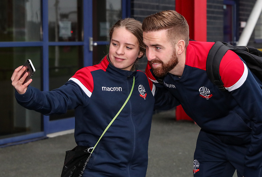 Bolton Wanderers' Mark Beevers poses with a fan for a selfie before today's match<br /> <br /> Photographer Andrew Kearns/CameraSport<br /> <br /> Emirates FA Cup Third Round - Bolton Wanderers v Walsall - Saturday 5th January 2019 - University of Bolton Stadium - Bolton<br />  <br /> World Copyright © 2019 CameraSport. All rights reserved. 43 Linden Ave. Countesthorpe. Leicester. England. LE8 5PG - Tel: +44 (0) 116 277 4147 - admin@camerasport.com - www.camerasport.com