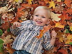 Happy two year old girl lying on fallen tree leaves in autumn nature