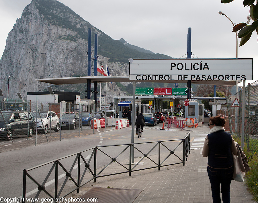 Customs at the border between Spain and Gibraltar, British overseas territory in southern Europe