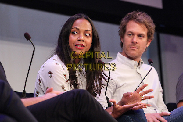 NEW YORK, NY - SEPTEMBER 29: Actress Zoe Saldana at the Reinventing Social Entertainment panel presented by AOL during Advertising Week 2015 AWXII at the Times Center Stage on September 29, 2015 in New York City.  <br /> CAP/MPI/COR<br /> &copy;COR/MPI/Capital Pictures