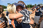 30 MAY 2016: University of Texas-Tyler teammates celebrate their National Title during the Division III Women's Softball Championship is held at the James I Moyer Sports Complex in Salem, VA. University of Texas-Tyler defeated Messiah College 7-0 for the national title. Don Petersen/NCAA Photos
