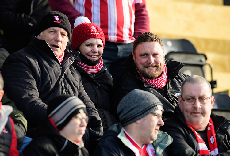 Lincoln City fans enjoy the pre-match atmosphere<br /> <br /> Photographer Chris Vaughan/CameraSport<br /> <br /> The EFL Sky Bet League Two - Lincoln City v Northampton Town - Saturday 9th February 2019 - Sincil Bank - Lincoln<br /> <br /> World Copyright &copy; 2019 CameraSport. All rights reserved. 43 Linden Ave. Countesthorpe. Leicester. England. LE8 5PG - Tel: +44 (0) 116 277 4147 - admin@camerasport.com - www.camerasport.com