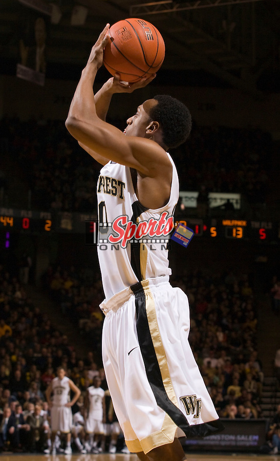 Ishmael Smith #10 of the Wake Forest Demon Deacons takes a jump shot during first half action against the North Carolina State Wolfpack at the Lawrence Joel Veterans Memorial Coliseum December 20, 2009, in Winston-Salem, North Carolina.  The Demon Deacons defeated the Wolfpack 67-59.  Photo by Brian Westerholt / Sports On Film