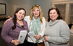 WINSTED, CT-020618JS17-- Ashley Holland of Winsted; Roxanne Nicolini of Winsted and Kathy Wollschlager of Winsted, at the Friends of Main Street's annual Bubbles and Truffles wine, beer and chocolate tasting event held at Crystal Peak Banquet Hall in Winsted. A portion of this years proceeds will go toward playing for the installation of a new playground at the Pearson School. <br /> Jim Shannon Republican-American