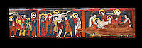 Romanesque painted Beam depicting The Passion and the Stations of the Cross<br /> <br /> Around 1192-1220, Tempera on wood from Catalonia, Spain.<br /> <br /> Acquisition of Museums Board's campaign in 1907. MNAC 15833.<br /> <br /> It is not known what was the original location of the beam, but it might have been part of the structure of a canopy. In any case, it was reused in a ceiling, as evidenced by the cuts that are at the top. It is decorated with seven scenes from the Passion and Resurrection of Christ, this scene shows Christ being taken dwon fron the Cross and laid in a tomb. The narrative character in the images and the predominance of yellow is typical of Catalan painting of the 1200's,  specifically with illustrations of Liber Feudorum Maior, a late twelfth-century illuminated cartulary book style of the Crown of Aragon