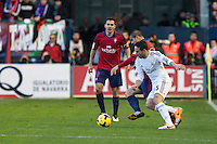 14.12.2013, Pamplona, Spain. La Liga football Osasuna  versus  Real Madrid.    Carvajal, Real Madrid defender, during the game between Osasuna and Real Madrid  from the Estadio de El Sadar.