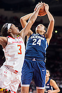 College Park, MD - DEC 29, 2016: Connecticut Huskies guard/forward Napheesa Collier (24) shots a jump shot over Maryland Terrapins guard Kaila Charles (3) during the game between No. 1 UConn and the No. 3 Terrapins at the XFINITY Center in College Park, MD. UConn defeated Maryland 87-81. (Photo by Phil Peters/Media Images International)