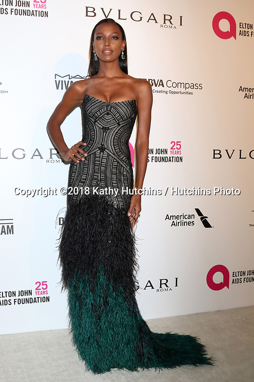 LOS ANGELES - MAR 4:  Jasmine Tookes at the 2018 Elton John AIDS Foundation Oscar Viewing Party at the West Hollywood Park on March 4, 2018 in West Hollywood, CA