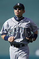 Ichiro Suzuki of the Seattle Mariners during a 2002 MLB season game against the Los Angeles Angels at Angel Stadium, in Los Angeles, California. (Larry Goren/Four Seam Images)