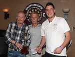 Ollie Thompson presents Steven Gibney and Robbie Smith from Watters of Collon darts team with the doubles trophy at the Drogheda Darts League Presentation night in the Punt. Photo:Colin Bell/pressphotos.ie