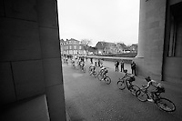 peloton riding through the Menenpoort war memorial<br /> <br /> Gent-Wevelgem 2014