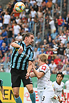11.08.2019, Carl-Benz-Stadion, Mannheim, GER, DFB Pokal, 1. Runde, SV Waldhof Mannheim vs. Eintracht Frankfurt, <br /> <br /> DFL REGULATIONS PROHIBIT ANY USE OF PHOTOGRAPHS AS IMAGE SEQUENCES AND/OR QUASI-VIDEO.<br /> <br /> im Bild: Valmir Sulejmani (SV Waldhof Mannheim #9) gegen Martin Hinteregger (Eintracht Frankfurt #13)<br /> <br /> Foto © nordphoto / Fabisch