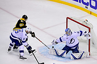 May 2, 2018: Tampa Bay Lightning goaltender Andrei Vasilevskiy (88) makes a save on as Boston Bruins left wing Rick Nash (61) fights for the rebound during game three of the second round of the National Hockey League's Eastern Conference Stanley Cup playoffs between the Tampa Bay Lightning and the Boston Bruins held at TD Garden, in Boston, Mass. Tampa Bay defeats Boston 4-1. Eric Canha/CSM
