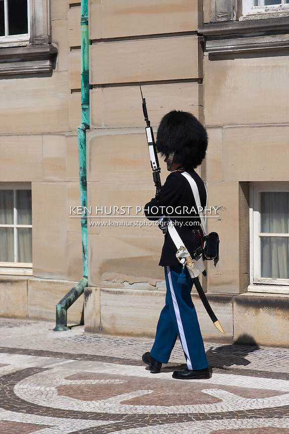 Guard in Copenhagen, Denmark at Amalienborg Palace.