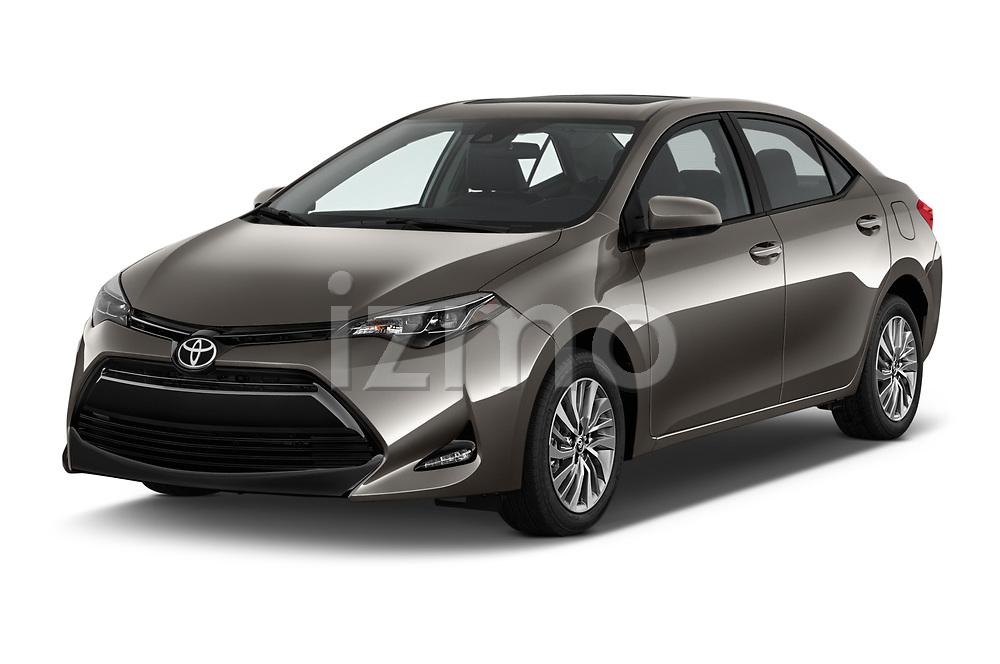 2017 Toyota Corolla XLE Premium 4 Door Sedan angular front stock photos of front three quarter view