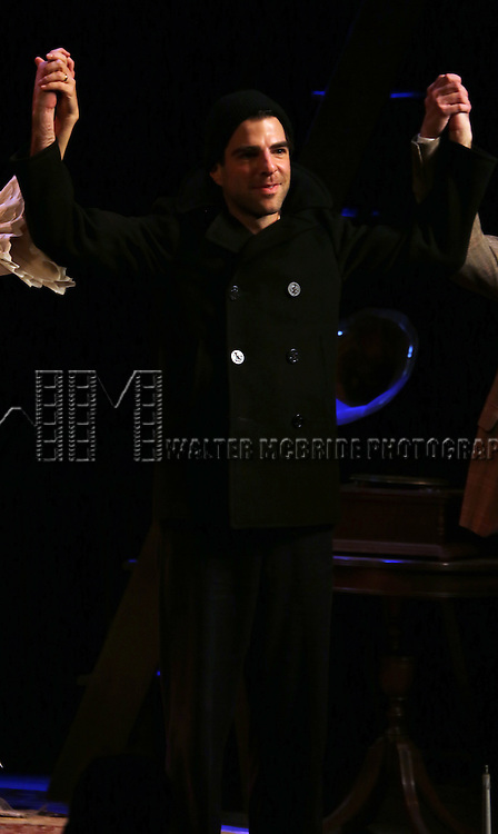 Zachary Quinto during the Broadway Opening Night Curtain Call for 'The Glass Menagerie' at the Booth Theater on September 26, 2013 in New York City.
