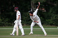 Kishen Velani in bowling action for Wanstead during Brentwood CC vs Wanstead and Snaresbrook CC, Essex Cricket League Cricket at The Old County Ground on 12th September 2020
