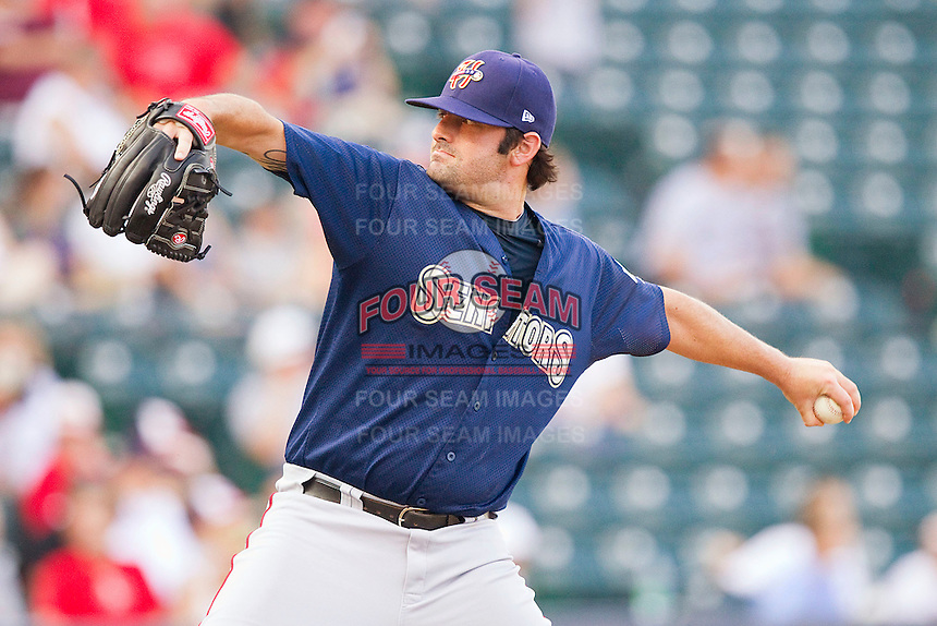 Relief pitcher Pat McCoy #32 of the Harrisburg Senators in action against the Richmond Flying Squirrels in game one of a double-header at The Diamond on July 22, 2011 in Richmond, Virginia.  The Squirrels defeated the Senators 3-1.   (Brian Westerholt / Four Seam Images)