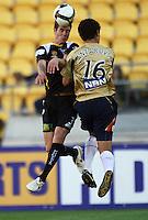Tony Lochhead beats Benjamin Kantarovski to a header during the A-League match between Wellington Phoenix and Newcastle Jets at Westpac Stadium, Wellington, New Zealand on Sunday, 4 January 2009. Photo: Dave Lintott / lintottphoto.co.nz