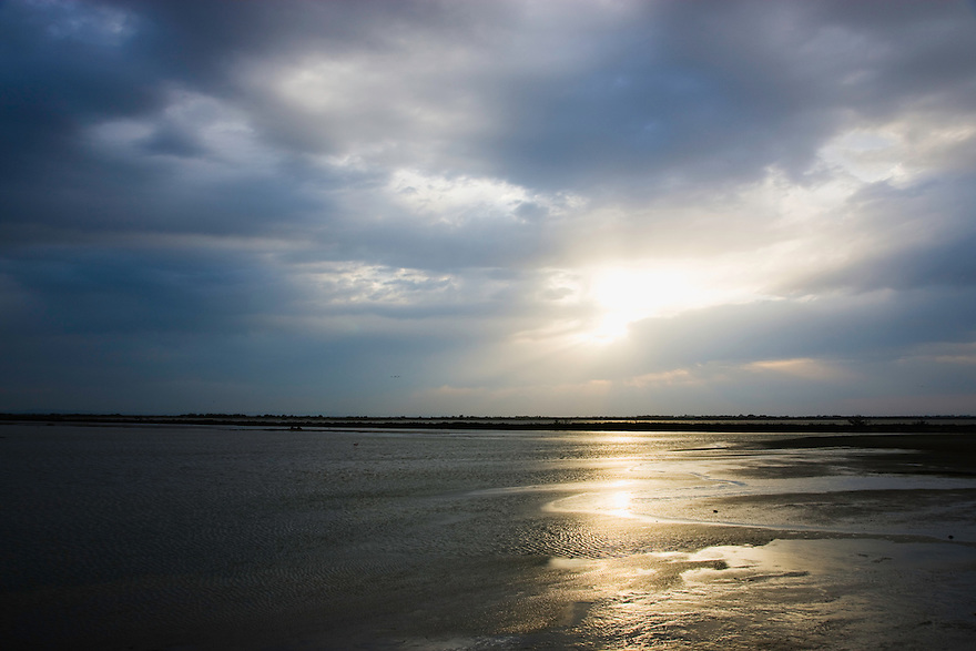 Lagoon Etang du Fangassier in stormy weather, Camargue, France