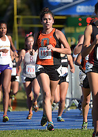Nov 14, 2015; Claremont, CA, USA; Sarah Ruiz of Occidental runs in the womens race during the 2015 NCAA Division III West Regionals cross country championships at Pomona-Pitzer College. (Freelance photo by Kirby Lee)