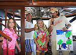 One Life To Live Thorsten Kaye and daughters Marlowe and McKenna painted this painting and autioned it off and got it back as the family had the highest bid for charity at SoapFest's Celebrity Weekend - Cruisin' and Schmoozin' on the Marco Island Princess - mix and mingle and watching dolphins - autographs, photos, live auction raising money for kids on November 11, 2012 Marco Island, Florida. (Photo by Sue Coflin/Max Photos)