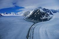 Alaskan glacier aerial view, Alaska, USA