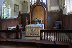 Historic interior of Saint John the Baptist church, Mildenhall, Wiltshire, England, UK