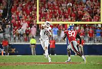 NWA Democrat-Gazette/CHARLIE KAIJO Arkansas Razorbacks quarterback Nick Starkel (17) throws a pass during the third quarter of a football game, Saturday, September 7, 2019 at Vaught-Hemingway Stadium in Oxford, Miss.