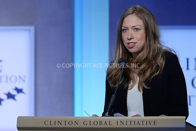 WWW.ACEPIXS.COM<br /> September 22, 2014 New York City<br /> <br /> Chelsea Clinton during the Opening Plenary Session discussion for the Clinton Global Initiative on September 22, 2014 in New York City.<br /> <br /> <br /> By Line: Kristin Callahan/ACE Pictures<br /> ACE Pictures, Inc.<br /> tel: 646 769 0430<br /> Email: info@acepixs.com<br /> www.acepixs.com