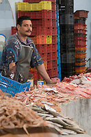 Tripoli, Libya - Fish Market, Rashid Street, Egyptian Fishmonger.