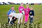 l-r  John Moriarty, Lixnaw with dog called Gentle Pearl, Molly Moriarty, Lixnaw, Megan Bradley, Lixnaw and Ryan Moriarty, Lixnaw at the Ballyheigue Coursing on Sunday